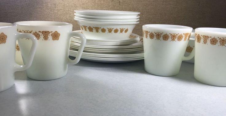 CORELLE DINNERWARE SET BUTTERFLY GOLD DINNER PLATES 12 PC PLATES BOWLS #CorelleCorning