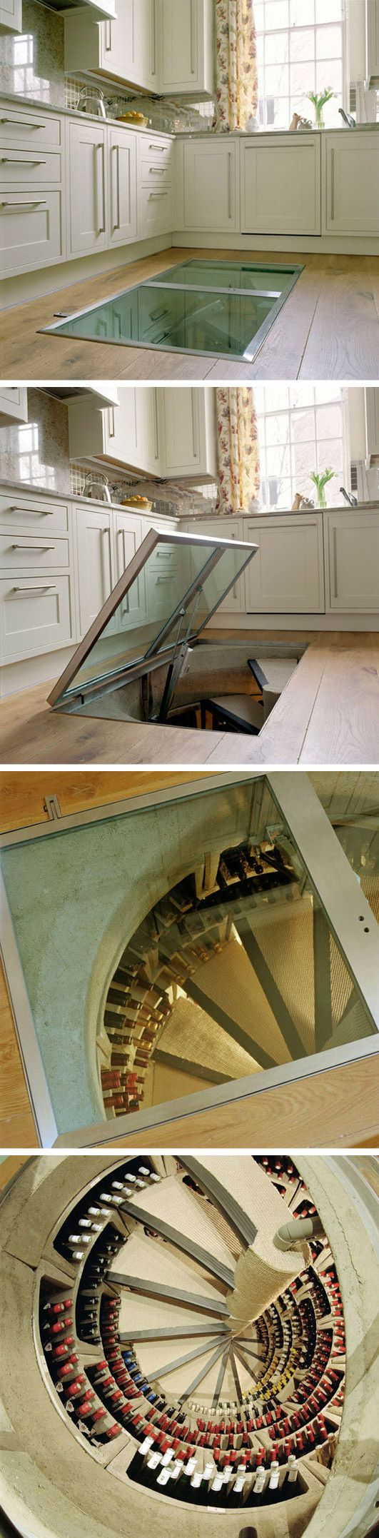 Trapdoor in the Kitchen Floor: Spiral Wine Cellars - seriously too cool