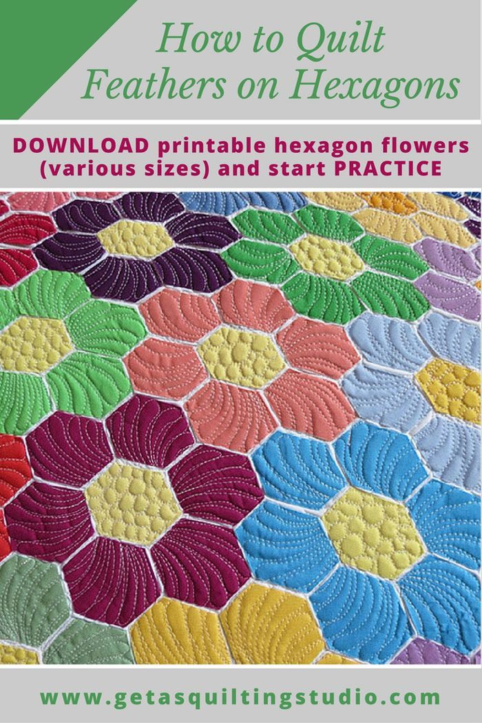 Learn to quilt hexagon quilts - the easy way! Click through to download printable hexagon flowers (simple and double, various sizes) to practice quilting feathers on hexagons. via @getagrama