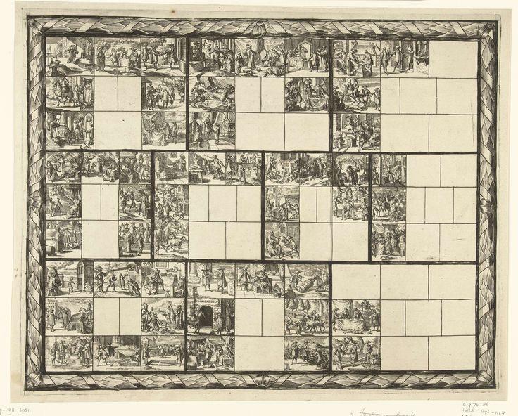 Romeyn de Hooghe | Blad met tientallen kleine voorstellingen van juridische aard (illustraties voor 'Ars magna et admirabilis [...] Pandectarum tituli [...] ope figurarum emblematicarum'?), Romeyn de Hooghe, 1690 - 1695 | Rechthoek, omgeven door ornamentrand, onderverdeeld in tien vlakken, die zelf weer onderverdeeld zijn in tien kleine vlakjes. Vijfenveertig van die kleine vakjes zijn leeg gelaten, vijfenvijftig zijn gevuld met kleine voorstellingen van juridische aard. Zo zijn er…