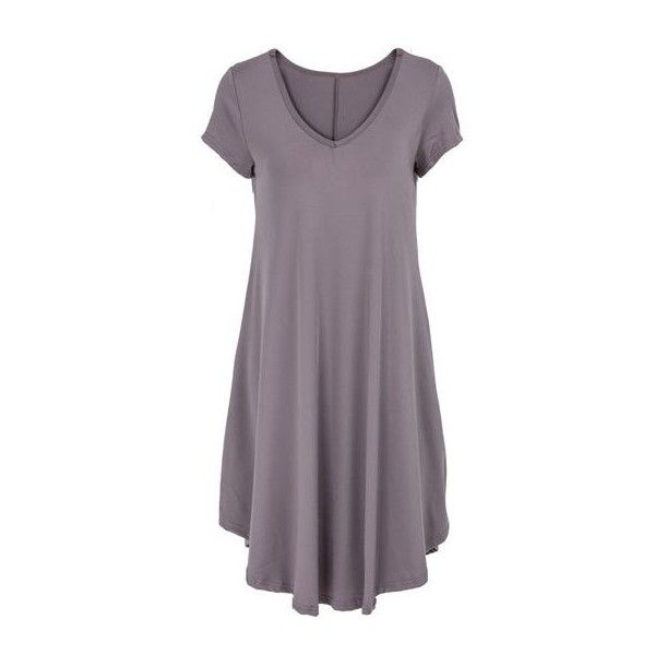 Short Sleeve Asymmetric Hem Mini Dress ($21) ❤ liked on Polyvore featuring dresses, grey, mini dress, short-sleeve dresses, short gray dress, grey dress and long-sleeve mini dress
