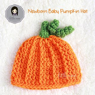 A cute little pumpkin hat for newborn babies, up to 3 months old. Great for use as a photography prop or at the pumpkin patch! Use any worsted weight yarn with this quick & easy pattern!