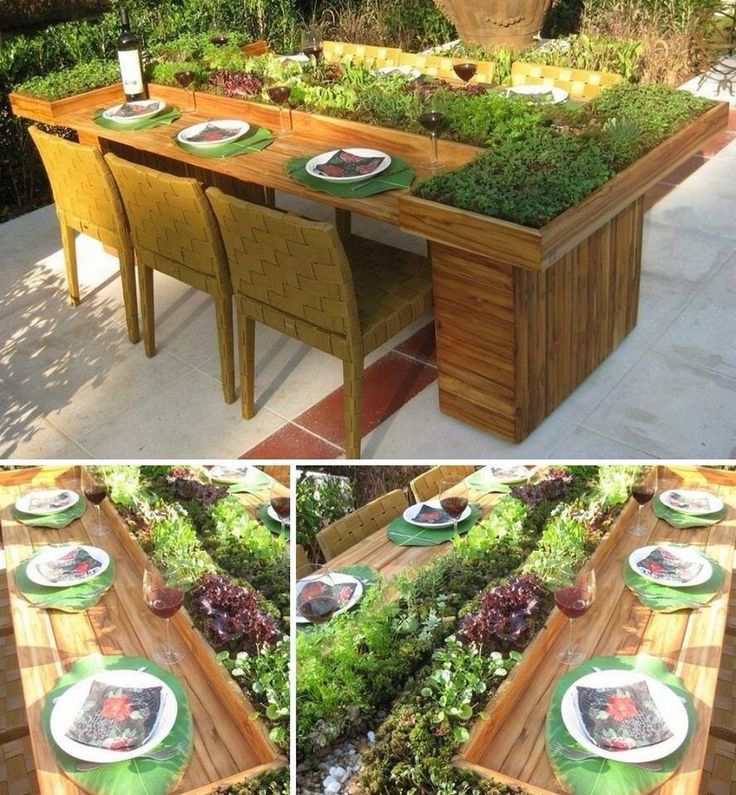 Outdoor dining area with built in salad bar