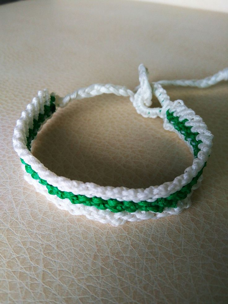 White and green friendship handmade   bracelet