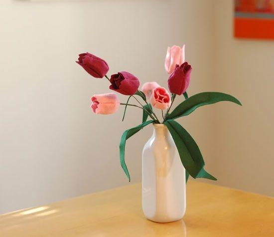 Tulipa de feltro com molde passo a passo | Como fazer em casa Artesanato