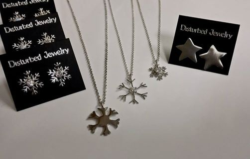 Shot from our latest #snowflake collection at @pillboxthes open market Vo2. #handcraftedjewelry #sterlingsilverjewelry #yellowgoldjewelry #finejewelry #snowflakejewelry #earrings #necklaces #disturbed_jewel #pillbox