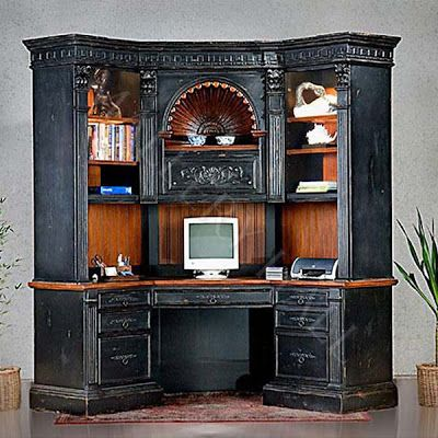 Shell corner computer desk hutch intricate carvings for Living room hutch
