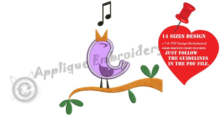 Excited to share the latest addition to my #etsy shop: Bird Embroidery Applique Design- Cute Bird Singing Applique - Spring Embroidery- Applique Patterns-Instant Download-PES http://etsy.me/2nhmyOB #supplies #quilting #machineembroidery #embroiderydesigns #applique #ap