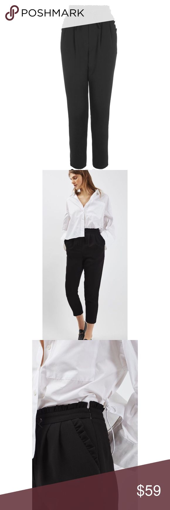 "{Topshop} Frill Waist Peg Leg Pants Sporty, girly and superchic, these pleated and tapered trousers with ruffle trim and a drawstring detail accentuate all your style phases. - 24.5"" inseam; 13"" leg opening; 13"" front rise - Hidden side-zip closure - Side slant pockets - Crop hem - 100% polyester.                                     Location: B1 Topshop Pants"