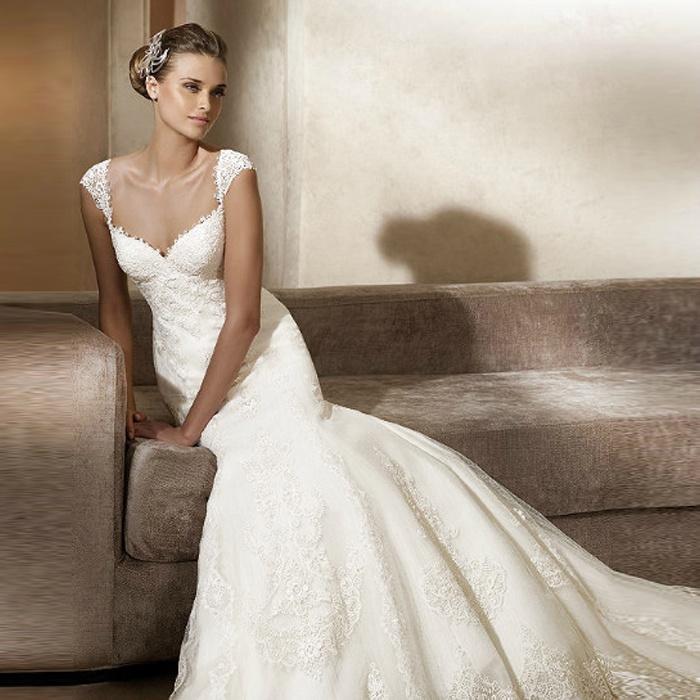 2012 neue Meerjungfrau Spitze Kapple Brautkleid Hochzeitskleid