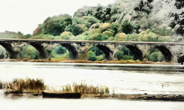 Rockville Bridge On The Susquehanna River Art Print by Leslie Montgomery.