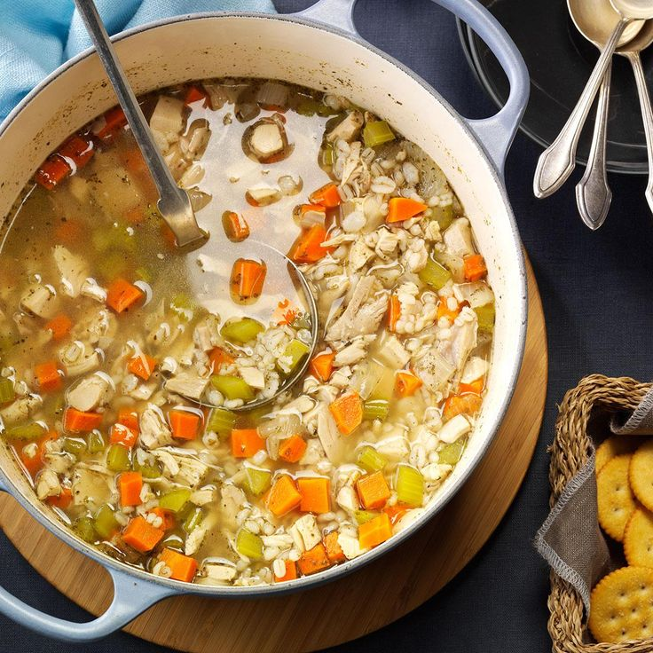 Chicken Barley Soup Recipe -No question—this is my favorite soup! It's so filling that I serve it as a hearty main dish, and I have given the recipe to many of our friends and relatives. (Especially with the barley, it simply tastes too good to keep to yourself!)