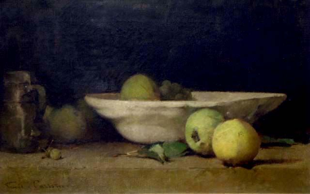 Still Life With Apples Bowl And Jug, c.1894 Emil Carlsen [1848-1932] Oil 13 x 21-1/2 inches Signed: At lower left. 'Emil. Carlsen.'. Archives of American Art #: 66030026? Provenance: P…