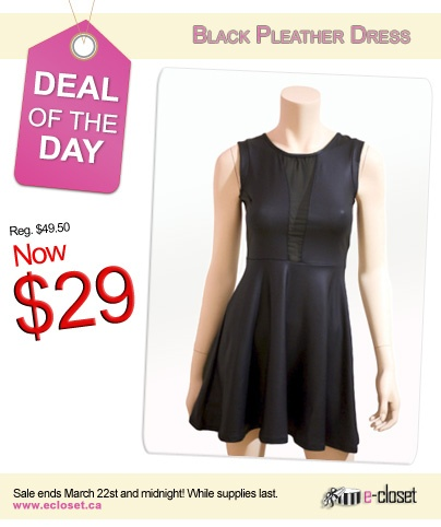 Deal of the day! Sale ends tonight Friday at midnight.    Click her to view ->http://www.ecloset.ca/collections/tops/products/black-pleather-dress-w-mesh#.UUxy8xncvEY