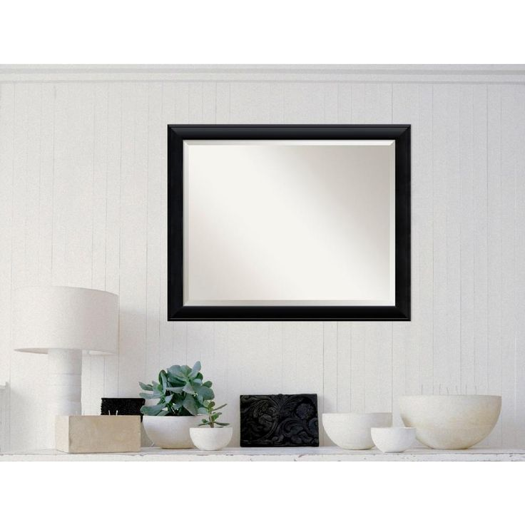 Nero Black Wood 31 in. W x 25 in. H Contemporary Framed Mirror