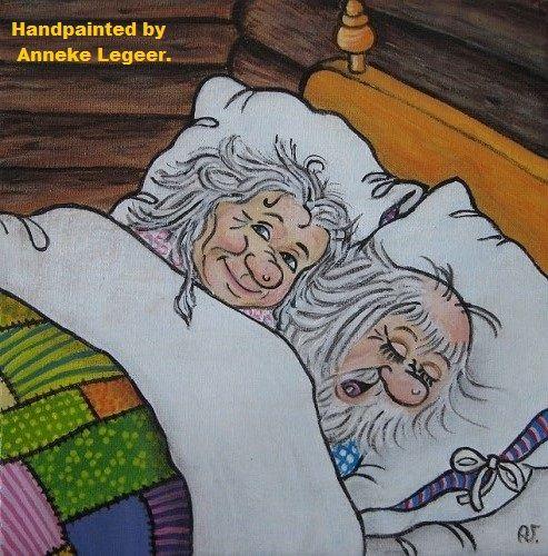 """  Trollmor och Trollfar  ""  ,  "" Trollfar snarkar  "" ,  handpainted by Anneke Legeer,  the Netherlands ,  inspired by Rolf Lidberg.    Sweden , 11 oktober 2014."