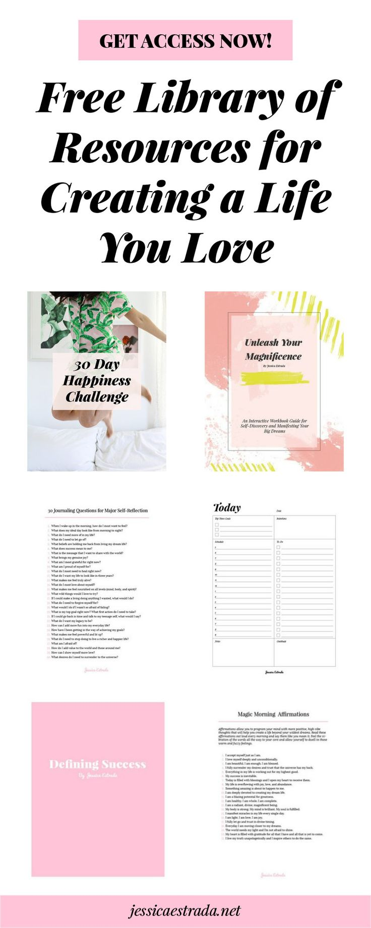 Want tons of FREE resources to help you create a life you love? This library of goodies is full of ebooks, workbooks, checklists, printables, worksheets, interactive challenges, and so much more fun stuff covering topics like self-love, self-care, personal growth, self help, productivity, manifesting, and journaling—all for free!