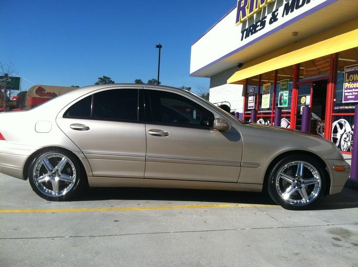 "This is Terrell Hood's 2004 Mercedes C240 sporting 18"" Lorenzo WL019 wheels. Photo taken at our Stone Mountain Rimco store at 5540 Memorial Drive Stone Mountain, GA 30083. (404) 292-5267."