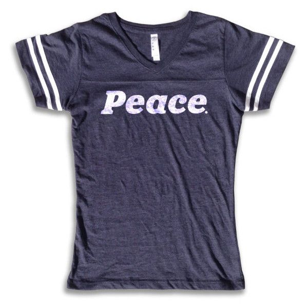 Vintage Sport T Shirt Peace Women's Sport Tee Retro Fashion 70'S &... ($24) ❤ liked on Polyvore featuring tops, t-shirts, navy, women's clothing, vintage sports t shirts, blue shirt, long sleeve tees, t shirt and long-sleeve shirt