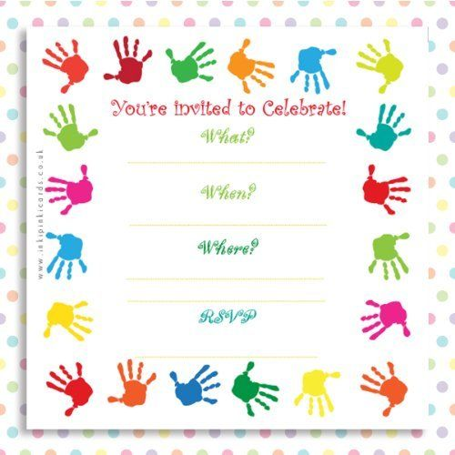'Rainbow Handprints' ..a pack of 10 colourful Kids Birthday Party Invitations for girls, boys and young children by inkipinkicards, http://www.amazon.co.uk/dp/B007V2YBRI/ref=cm_sw_r_pi_dp_v4aQtb0FFY16G