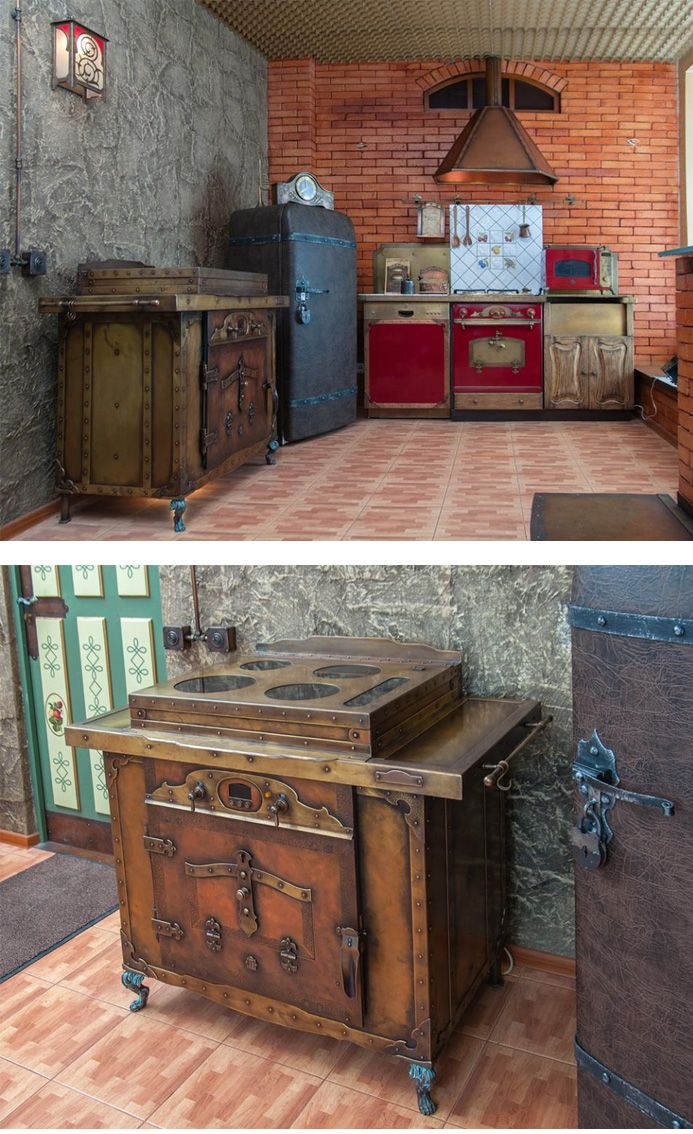 Incredible steampunk kitchen! That stove & cooktop is a work of art. Wow.