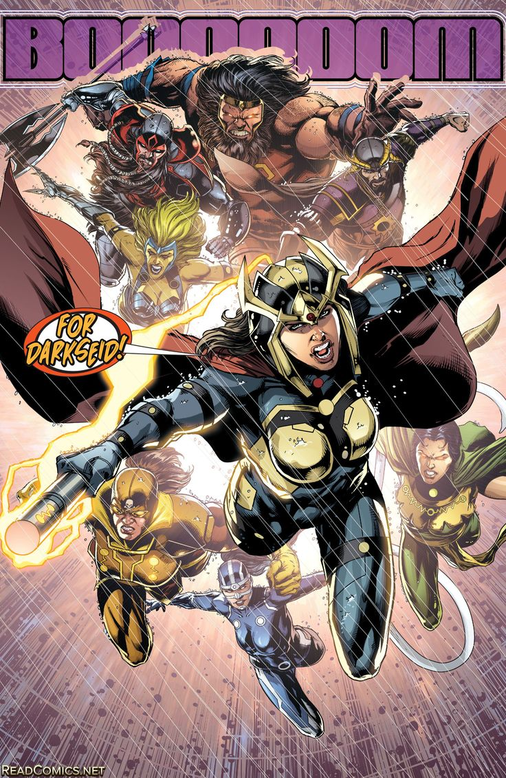 Big Barda leads Darkseid's Female Furies along with Kalibak, Steppenwolf,  and Kanto into battle against Grail
