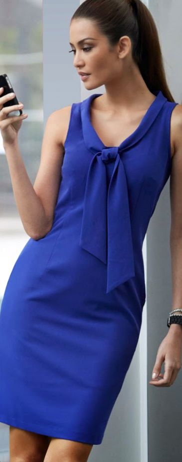Loving this LBD, Little Blue #Dress, w/ #Neckline w/ Bow