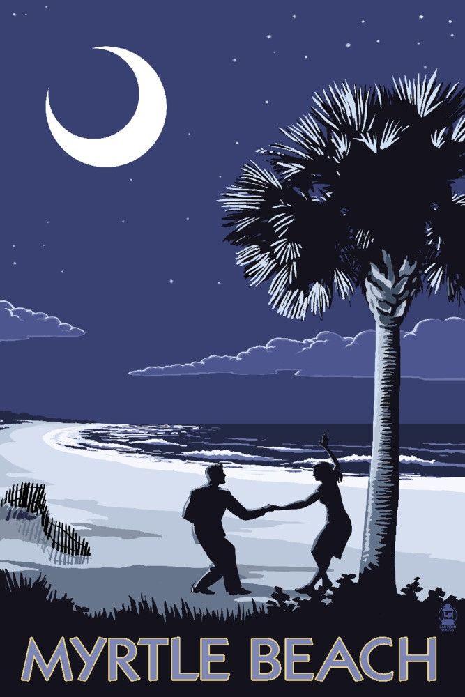 Print (Myrtle Beach, South Carolina - Palmetto Moon Beach Dancersÿ- Lantern Press Artwork)