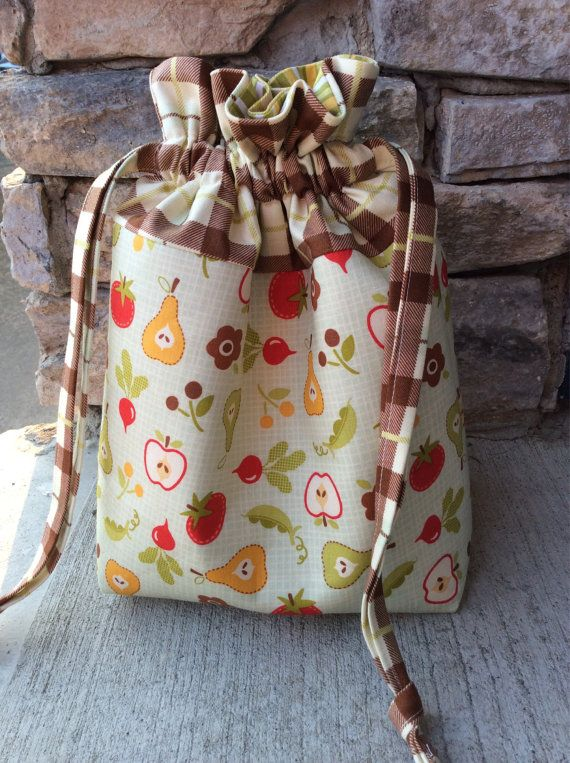 Fruits and Veggies Padded Drawstring Craft Project by KnittersNook, $22.00