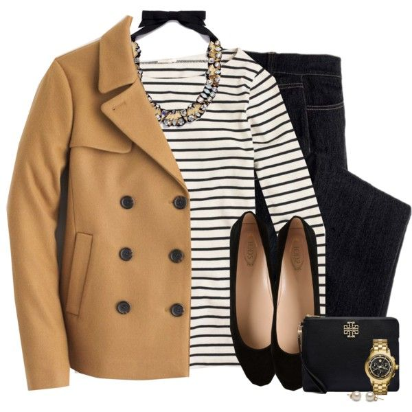 J.crew peacoat, statement necklace & striped top by steffiestaffie on Polyvore featuring J.Crew, Avon, Tod's and Tory Burch