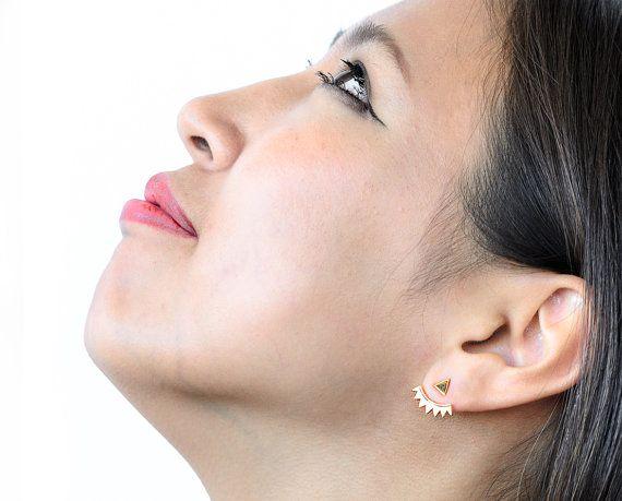 Triangle Ear Jacket, Rose Gold Plated, Spiky Earjacket, Geometric Earrings, Minimalistic, Modern Jewelry, Gift for Mom, EJ001