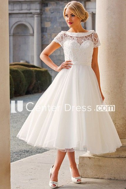 a57224cc2d1c56 Shop Tea-Length A-Line Cap Sleeve Beaded Bateau Neck Tulle Wedding Dress  Online. UCenter Dress offers tons of high quality collections at affordable  prices.