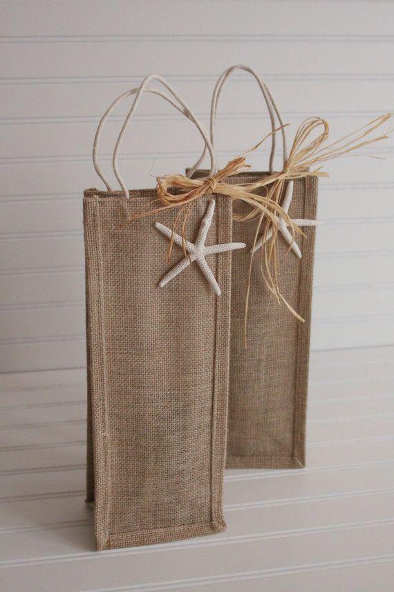 Coastal Burlap Wine Tote Bag