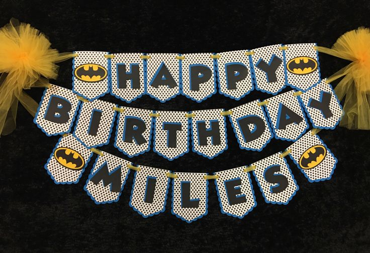 Batman Inspired Personalized Birthday Banner - Perfect for your child's birthday party! by JeanineJordan on Etsy https://www.etsy.com/listing/468699287/batman-inspired-personalized-birthday