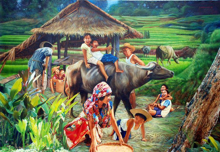 Happy carabao group Philippine art, Art, Art village
