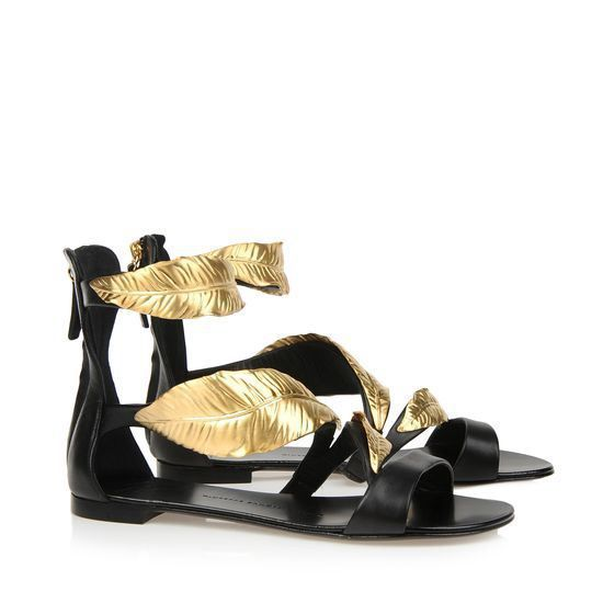 Giuseppe Zanotti Calfskin Flat Sandal With Rear Zip A Gold Metal Leaf Black