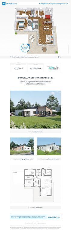 Winkelbungalow Grundriss, 122 m², offene Küche