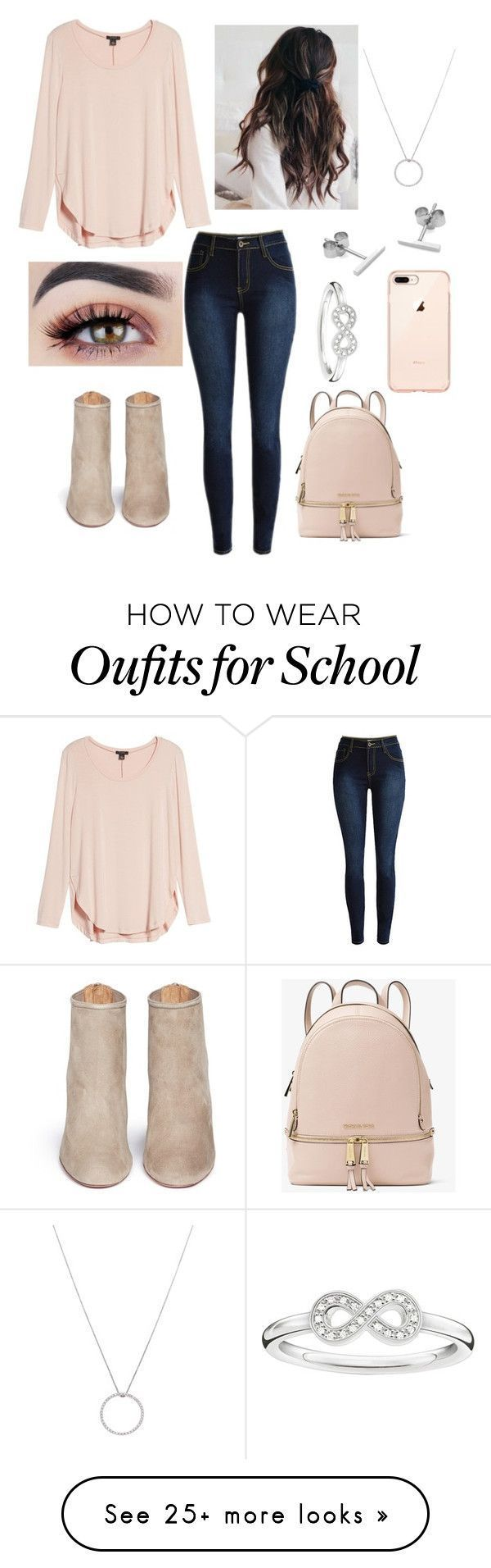 """School outfit"" on Polyvore featuring Halogen, Aquazzura, MICHAEL Michael Kors, Myia Bonner, Roberto Coin and Thomas Sabo #polyvoreoutfits #schooloutfits"