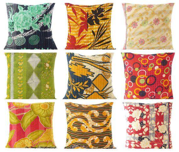 Bohemian Patchwork Kantha Cushion Cover Wholesale Indian Vintage