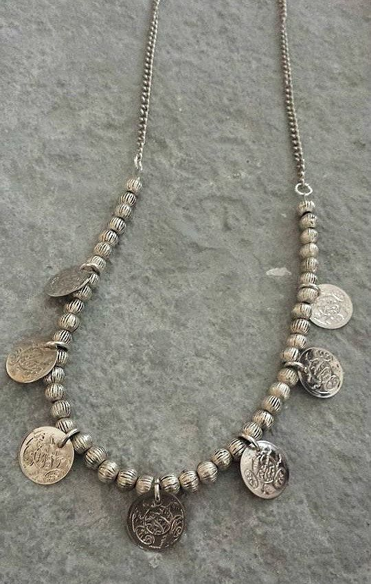 Ethnic Bohemian Silver Tone Coin Bead Necklace Mother's Day Gift by Lycidasjewelry on Etsy