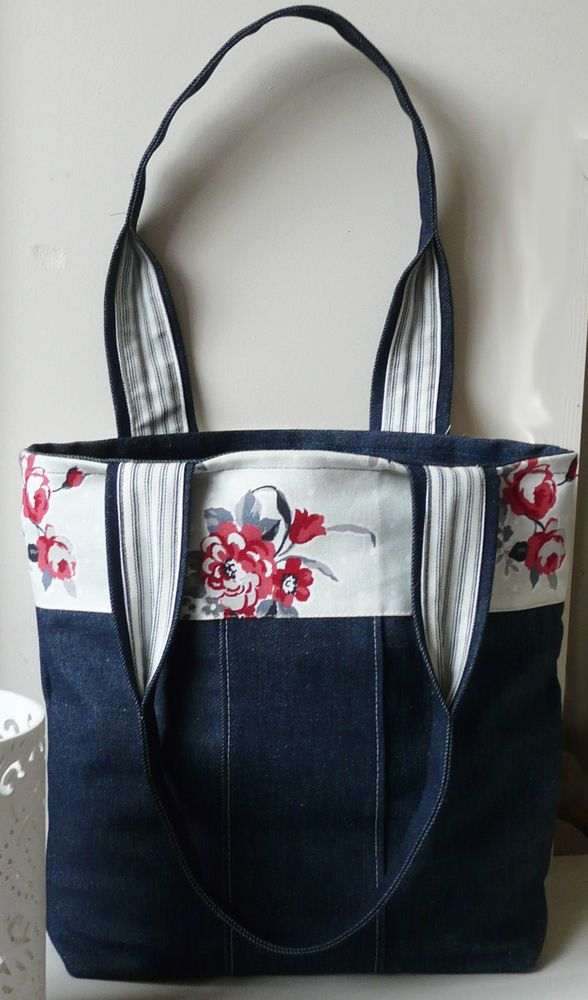 Denim  Handbag Tote bag with red flowered panel £14.00 -SOLD
