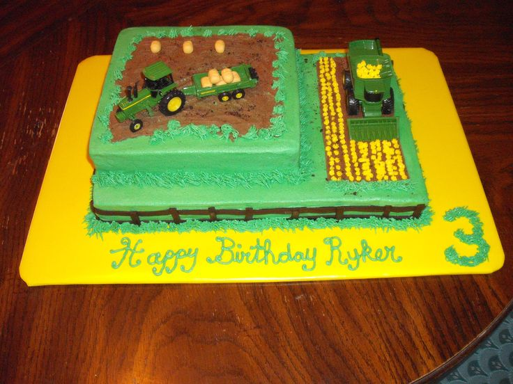 John Deere theme birthday cake, complete with tractor, bale trailer and combine!
