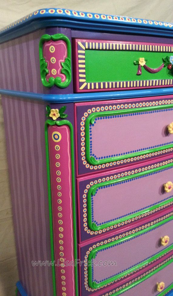 SOLD sample of CUSTOM WORK- Dresser and Night stand- Custom Hand Painted Furniture Made to order