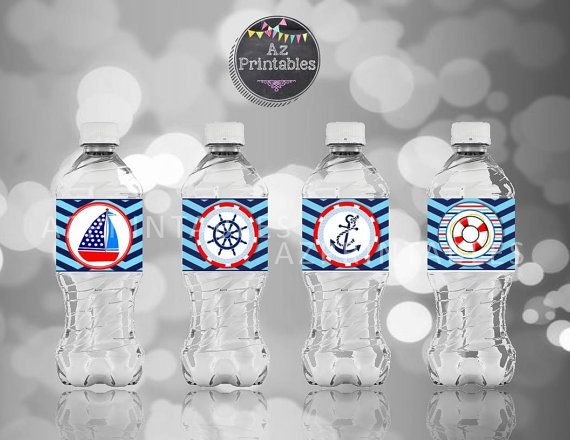 Printable water bottle label nautical water bottle by AZPrintables