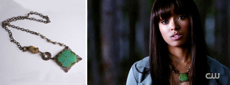 """The Bonnie Necklace by Kiki Bird Jewelry. Worn by Kat Graham (Bonnie) on """"The Vampire Diaries"""", The Walking Dead, (Ep. 422), Original Air Date: 5/9/13"""