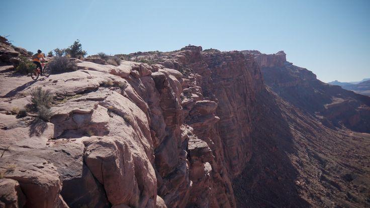 Hugging the cliffs on the Captian Ahab Trail.- Amasa Back Mountain Bike Trails: Captain Ahab