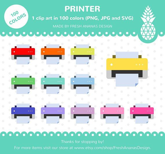 100 Colors Clip Art: Printer, Printer Clipart, Printer Icon, Technology, Office, School, Clipart, Planner Clipart, SVG, Printable Stickers