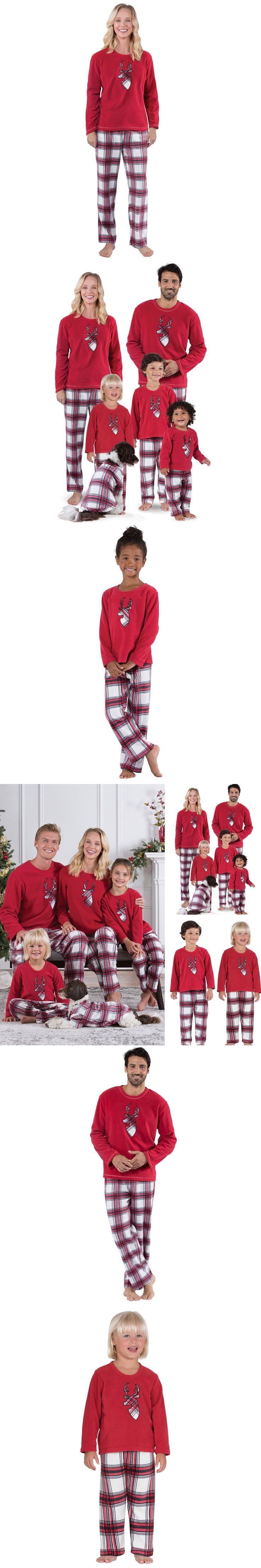 Family Matching Christmas Pajamas Set Deer Printing T Shirt Tops Bottom Striped Long Pants Women Baby Kids Deer Sleepwear