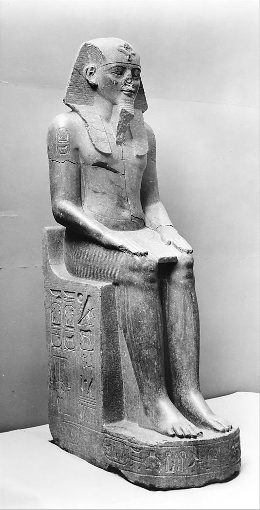 Colossal Statue of Amenhotep III Reinscribed by Merneptah  Date: ca. 1390–1353 B.C.  Luxor, Temple of Amun, Eastern Portal  Accession Number: 22.5.1