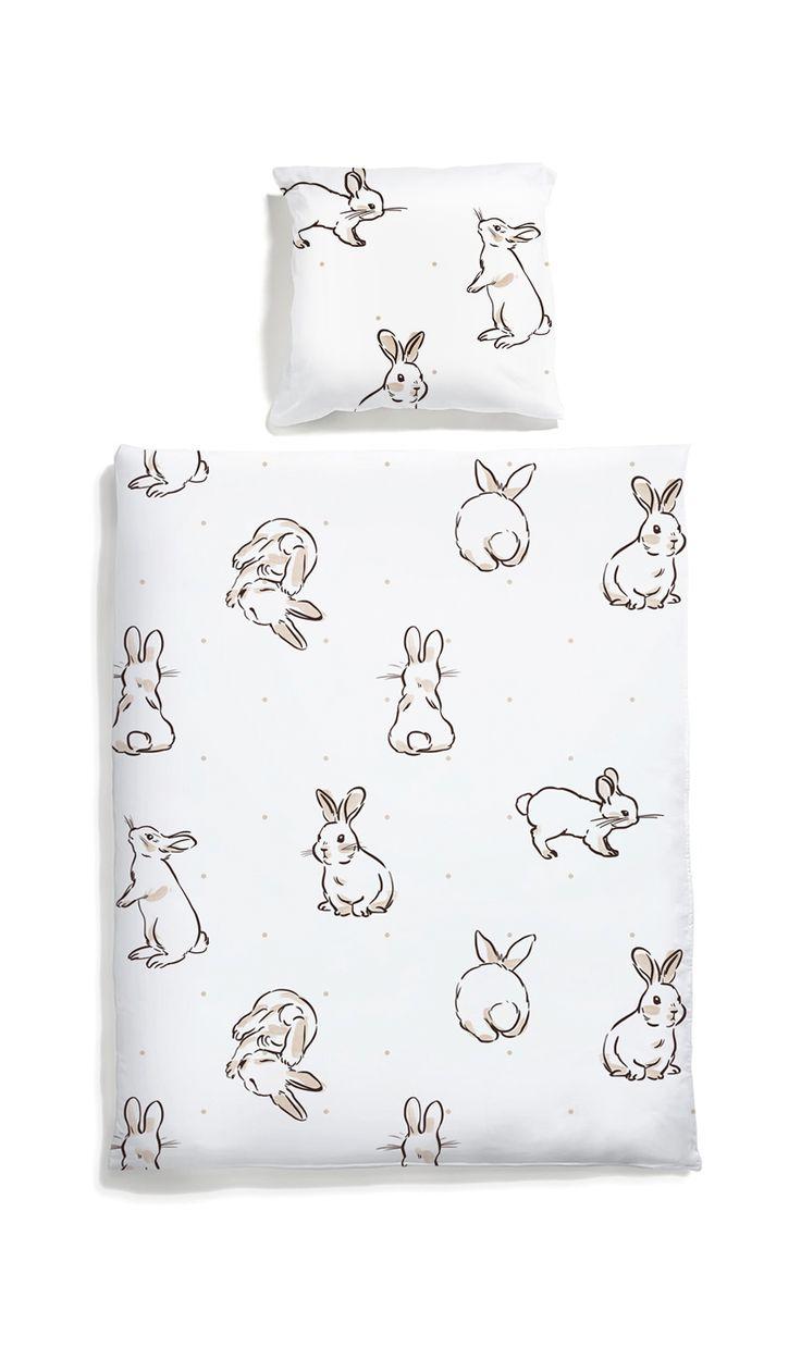 Rabbit kids bed linen -White pocket